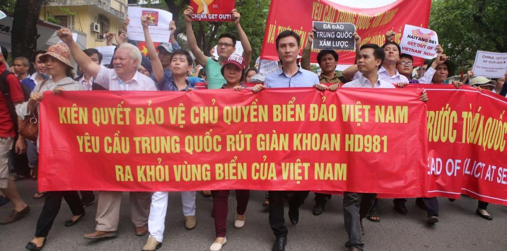 Protestaron contra China en Hanoi