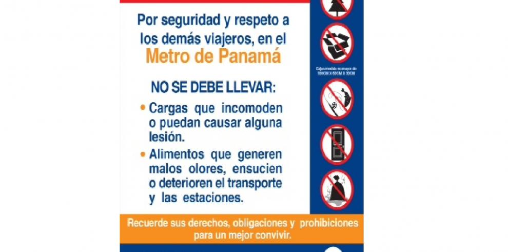 No se pueden transportar enormes paquetes en el Metro de Panamá