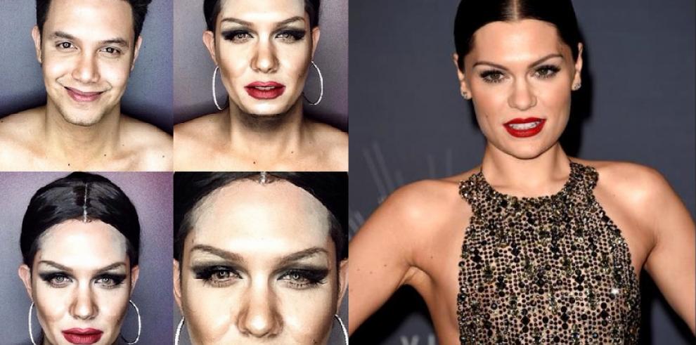 Hombre se transforma en famosos con maquillaje