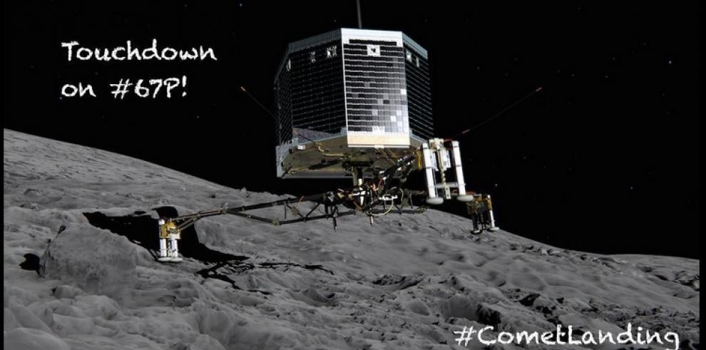 Módulo Philae aterriza sobre la superficie del cometa Darmstadt