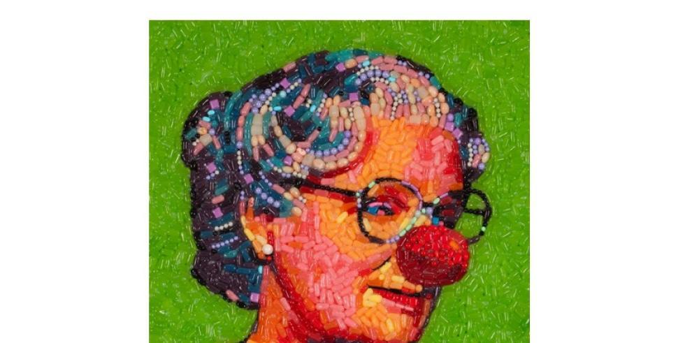 Retrato de famosos hechos con caramelos