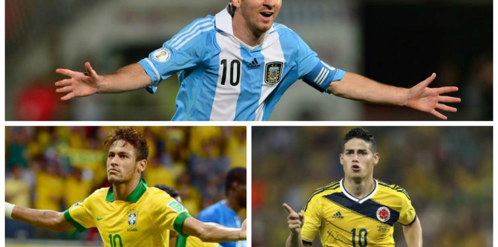 Los nominados al Balón de Oro: James, Messi y Neymar