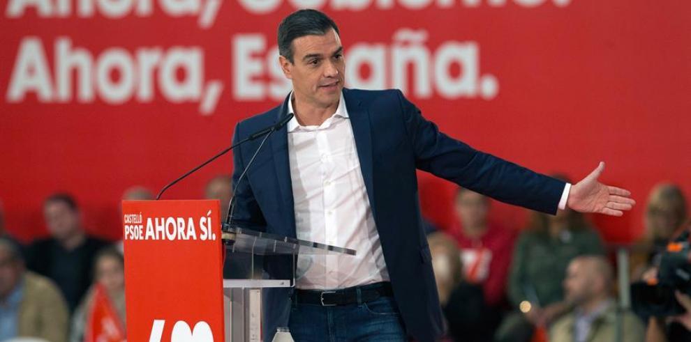 Pedro Sanchez durante un acto de campaña el jueves.