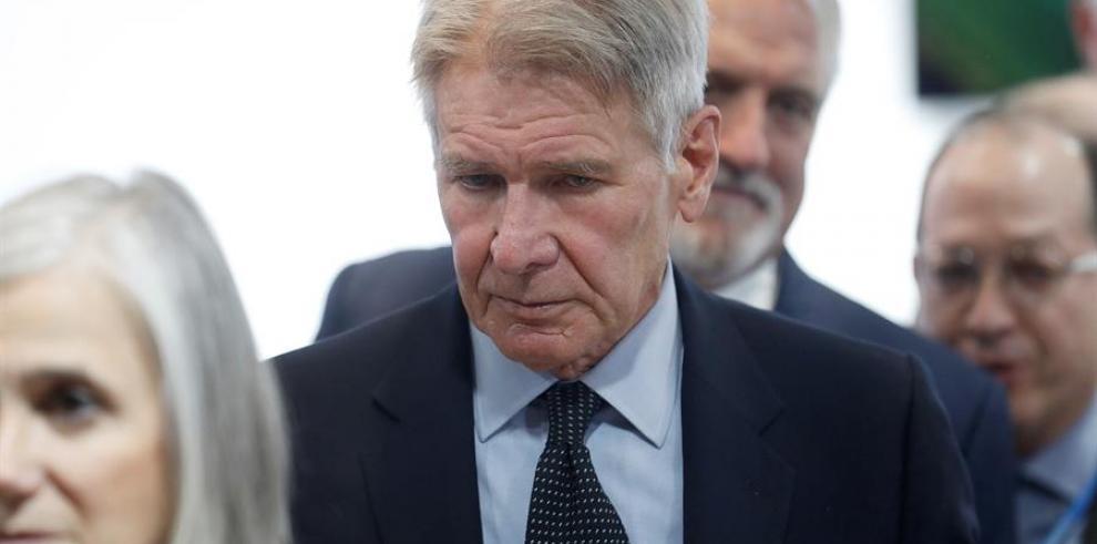 El actor estadounidense Harrison Ford durante su asistencia a la Cumbre del Clima COP25 que tiene lugar estos días en Madrid.