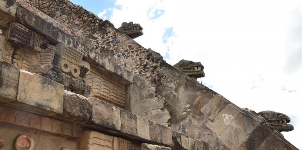 Detalle del templo de Quetzalcoatl en la ciudad prehispánica de Teotihuacán (México).