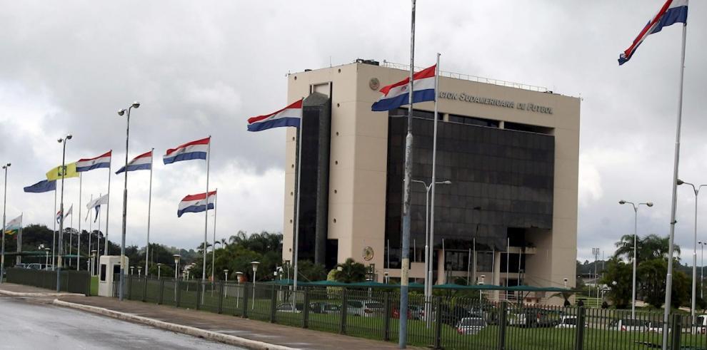 En la imagen un registro del edificio de la Conmebol, en Luque (Paraguay).