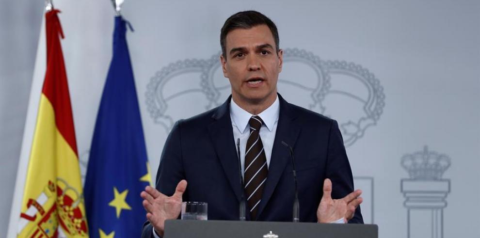 El jefe del Ejecutivo, Pedro Sánchez, durante la rueda de prensa celebrada en el Palacio de la Moncloa