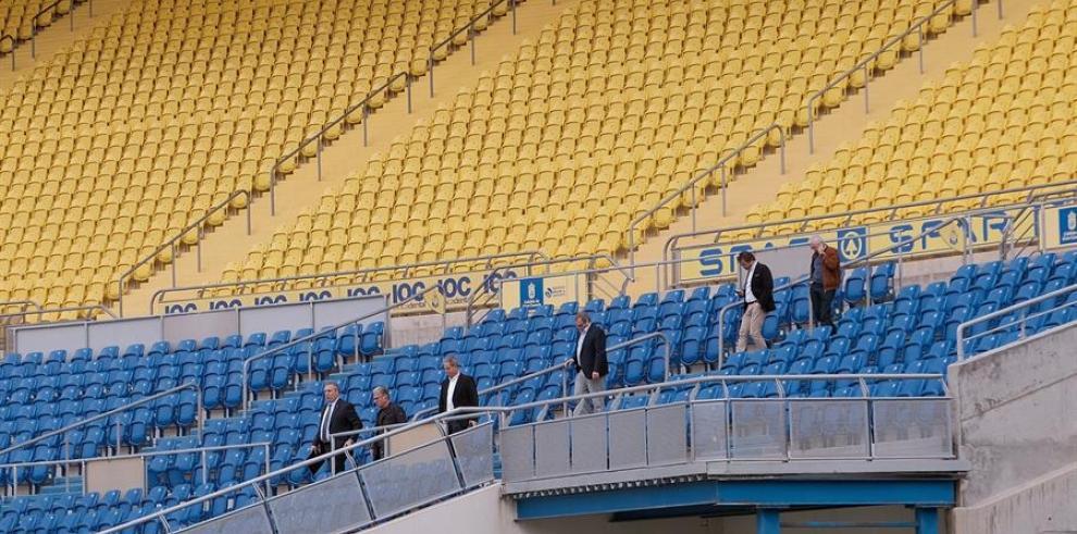 La grada del Estadio de Gran Canaria vacia.