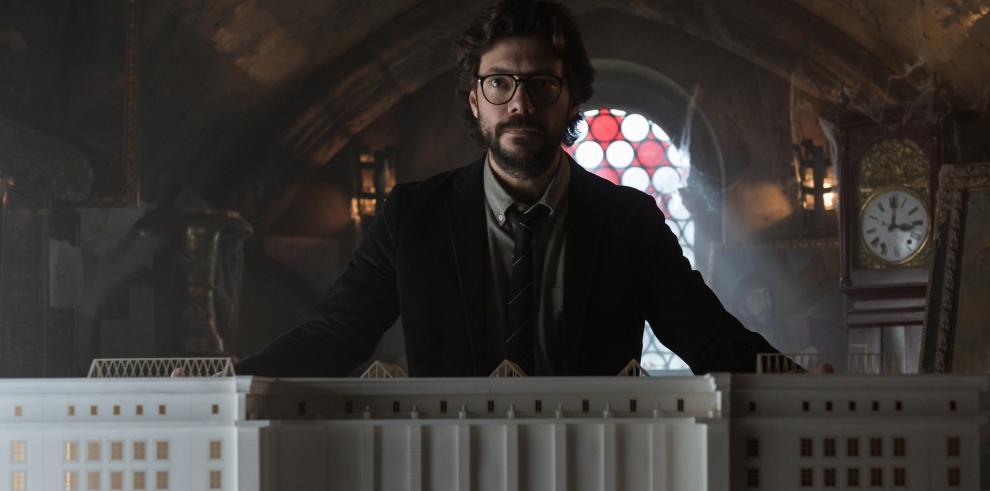 Actor español Álvaro Monte en su papel de El Profesor para la serie La Casa de Papel