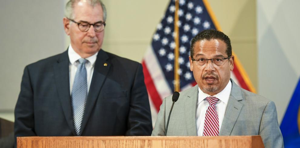 El Fiscal General de Minnesota Keith Ellison y el Fiscal del Condado de Hennepin, Mike Freeman