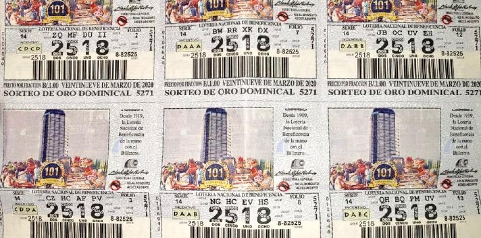 Los chances y billetes que circularán a partir de hoy lunes 19 de octubre, corresponden al sorteo N°5271