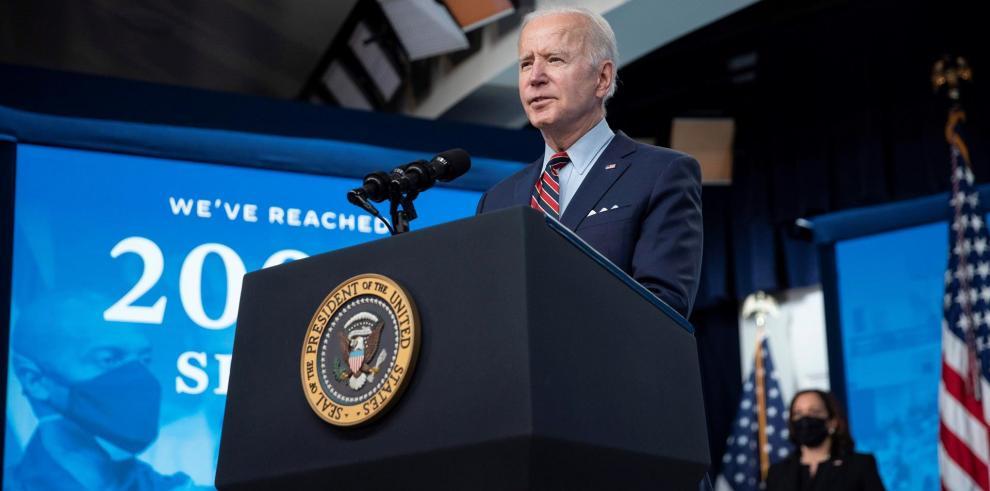 El presidente de EE.UU., Joe Biden, habla, este 21 de abril de 2021, desde Washington