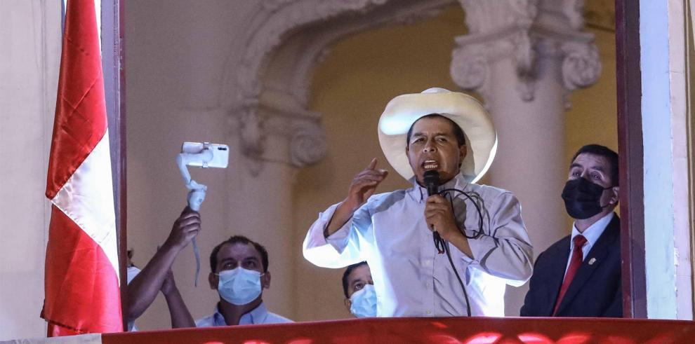 El candidato izquierdista Pedro Castillo
