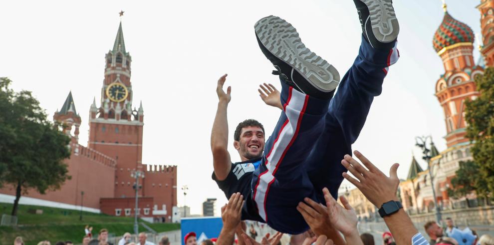Celebración de medallistas rusos