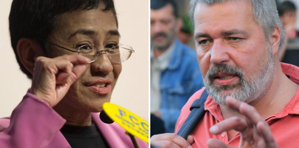 Combo fotográfico de la periodista filipina María Ressa y el ruso Dmitry Muratov, que han sido galardonados este viernes con el Premio Nobel de la Paz 2021.